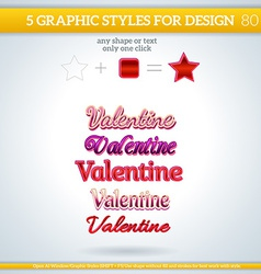 Set of valentine graphic styles for design vector