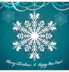 Card with snowflake with monkey symbol of 2016 vector