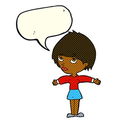Cartoon woman with open arms with speech bubble vector