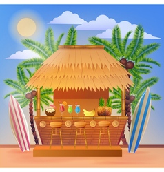 Vacation banner with beach bar and palm trees vector