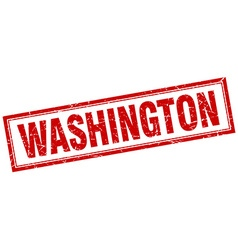 Washington red square grunge stamp on white vector