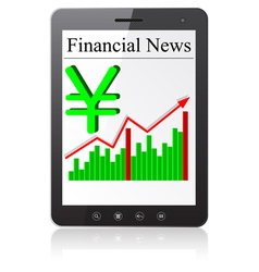 Financial news yena on tablet pc isolated on white vector