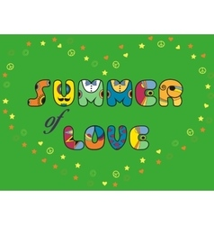 Summer of love colorful artistic font vector