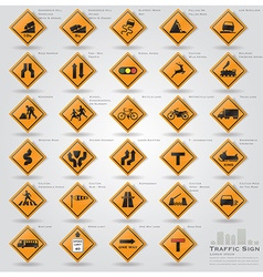 Road and street warning traffic sign icons set vector