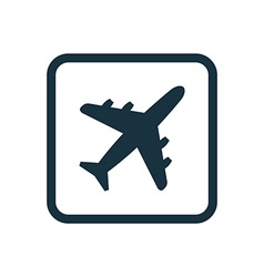 Airplane icon rounded squares button vector