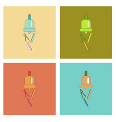 Assembly flat icons bell pencil ruler vector