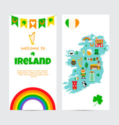 background template with tourist map of ireland vector image vector image