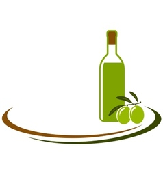 Background with olive oil bottle vector