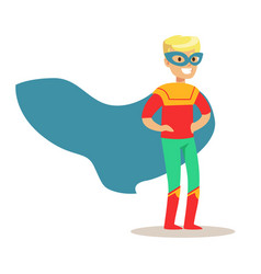 blond boy pretending to have super powers dressed vector image vector image