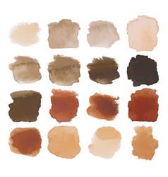Brown blots watercolor set vector