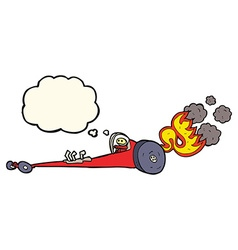 cartoon drag racer with thought bubble vector image