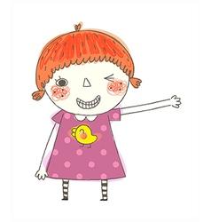 Cartoon girl standing vector