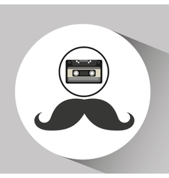 Cassette vintage mustache style hipster vector