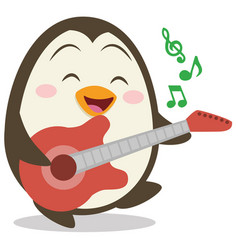 character of penguin with guitar vector image vector image