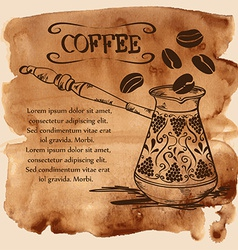 Coffee copper turk on a watercolor background vector