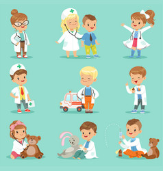 Cute kids playing doctor set smiling little boys vector