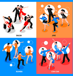 Dance isometric people concept vector