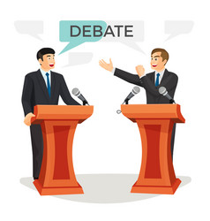 Debate poster with two politicians on vector