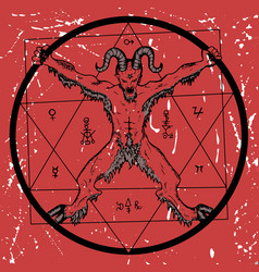devil with pentagram on red textured background vector image
