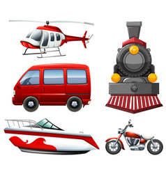 Different types of transportation in red vector