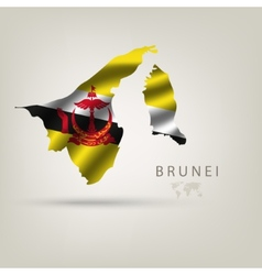 Flag of brunei as a country with a shadow vector