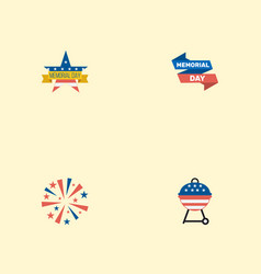flat icons ribbon barbecue firecracker and other vector image vector image