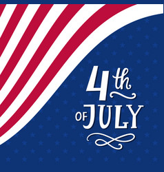 Fourth of july hand written ink lettering vector