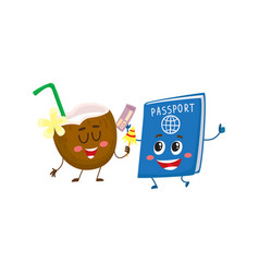 funny passport and coconut characters travelling vector image
