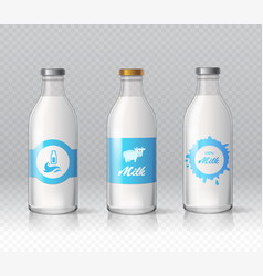 glass bottles of natural milk isolated realistic vector image