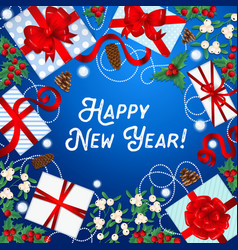 happy new year greeting card with gift boxes vector image