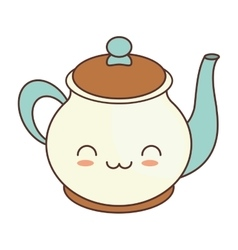 Kawaii teapot beverage kitchen ceramic vector