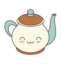 kawaii teapot beverage kitchen ceramic vector image