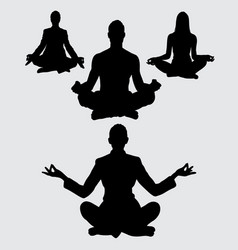 meditation silhouette vector image vector image