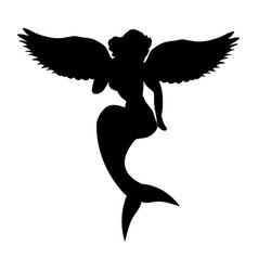 Mermaid siren silhouette ancient mythology fantasy vector