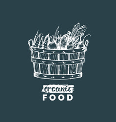 organic vegetables poster farm fresh eco vector image
