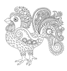 original black and white line art rooster drawing vector image vector image