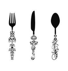 ornament cutlery set vector image vector image