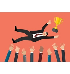 People throw a businessman with trophy cup in the vector image vector image
