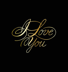 Phrase i love you cursive font with swirls vector