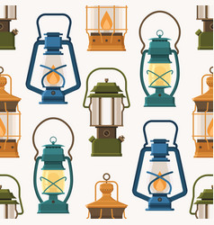 retro lantern or gas lamp pattern vector image