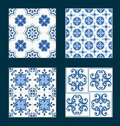 Set of vintage ceramic tiles in azulejo design vector image