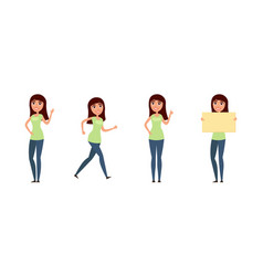 set of woman girl in casual clothes in different vector image vector image