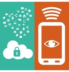 smartphone connection safety cloud data media vector image