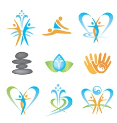 Spa massage health icons vector