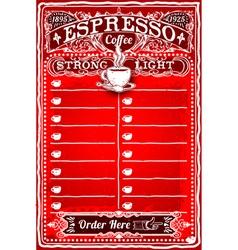 Vintage Hand Drawn Board for Espresso Menu vector image