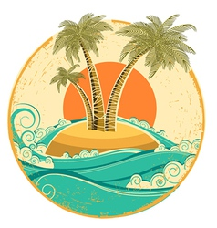 Vintage tropical island symbol seascape with sun vector