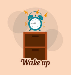 Wake up clock alarm the wooden table vector