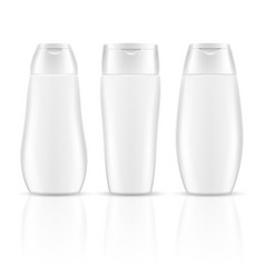 White blank shampoo bottles cosmetic container vector