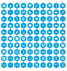 100 sport equipment icons set blue vector
