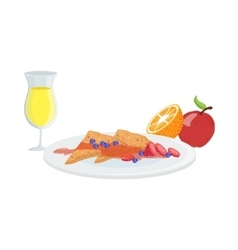 Sweet crepes fruit and juice breakfast food vector
